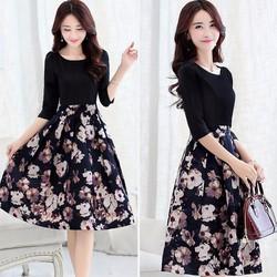 Đầm Hoa Dáng Xòe Vintage