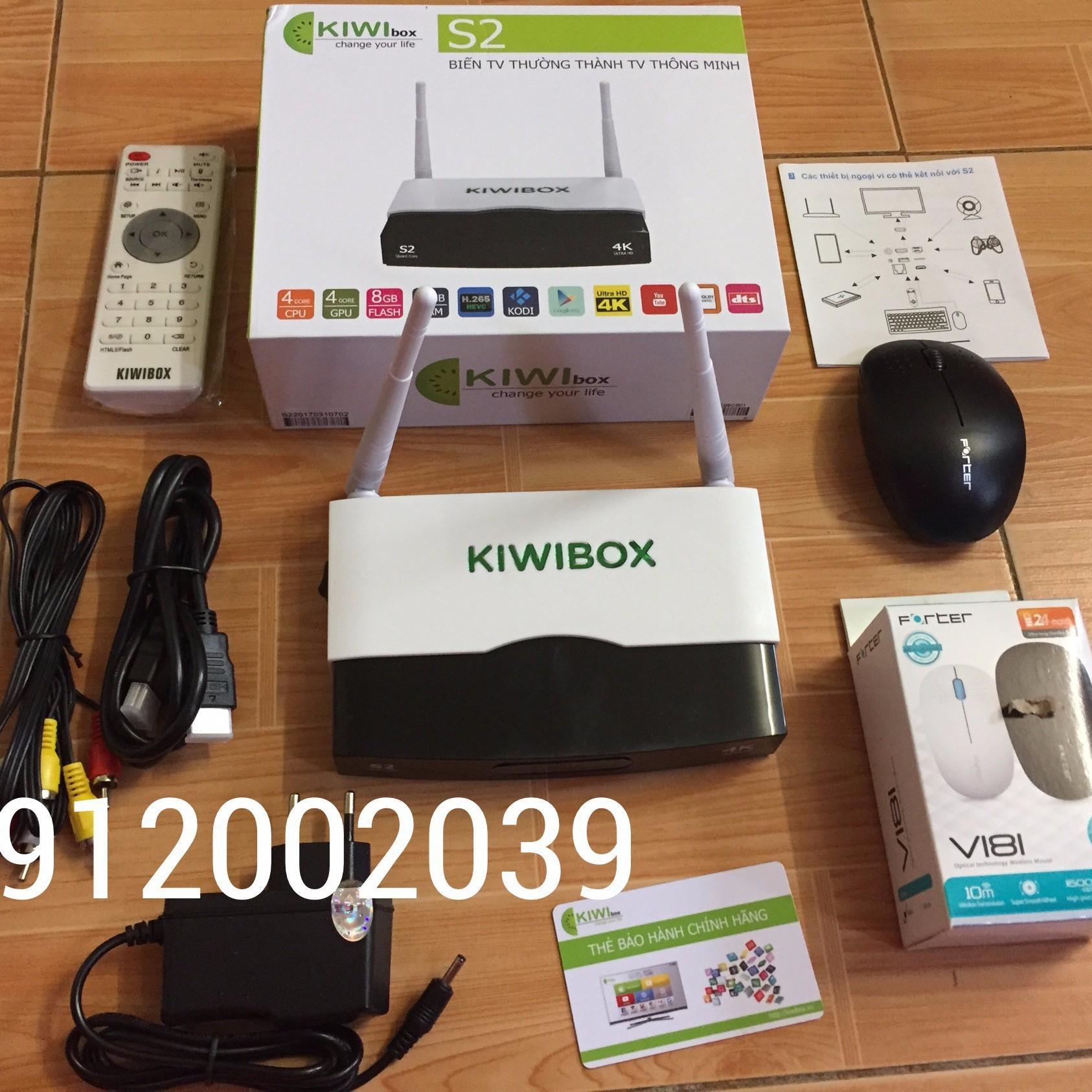 TV BOX KIWIBOX S2 TẶNG CHUỘT FORTER V181 - KIWIBOX S2 TẶNG CHUỘT