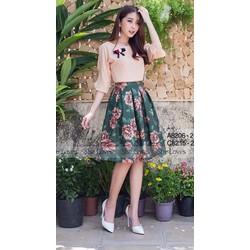 Sét áo tay lỡ + Chân váy in hoa hồng 3D