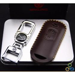 Móc khóa kèm bao da bọc chìa khóa các dòng MAZDA
