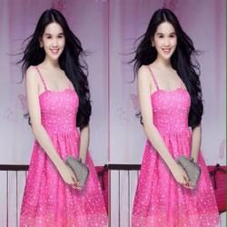 Đầm xoan cúp ngực hồng chấm bi cực đẹp AD08