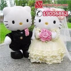 Gấu bông đôi Hello Kitty cô dâu chú rể 20cm