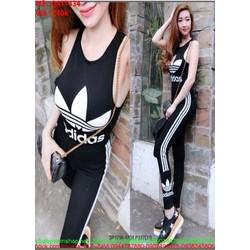 Bộ thể thao nữ áo ba lỗ và quần dài logo AD đen cá tính QATT434