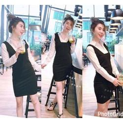 Sét áo sơ mi tay dài + yếm váy xinh iu