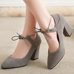 Giày gót vuông nữ cột dây nơ thời trang - LN1139