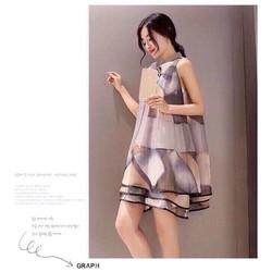 Đầm suông nơ hoạ tiết _MỎ CHU SHOP