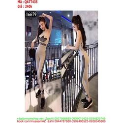Bộ thể thao nữ áo ba lỗ và quần dài logo AD màu xám  QATT435