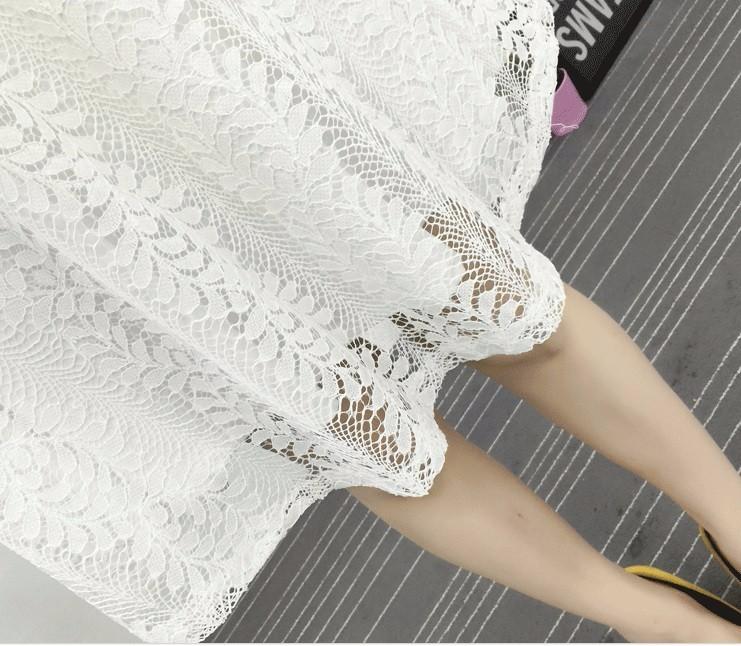 Set Đầm ren trắng tay dài TẶNG kèm thắt lưng 4