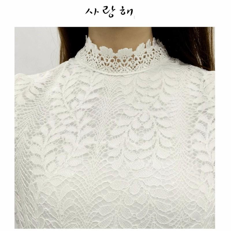 Set Đầm ren trắng tay dài TẶNG kèm thắt lưng 6