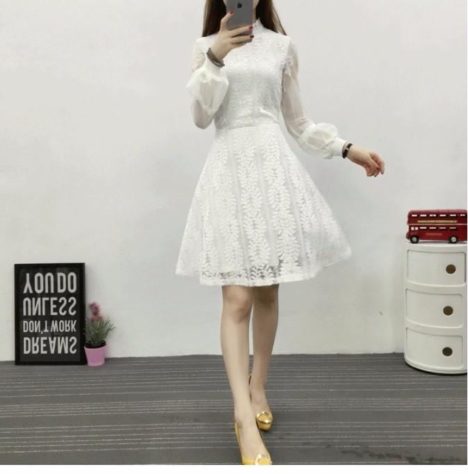 Set Đầm ren trắng tay dài TẶNG kèm thắt lưng 3