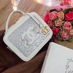 Túi xách hộp kim tuyến phối màu size 20 - G03925