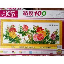 Tranh thêu chữ thập hoa mẫu đơn 5076-190x80cm