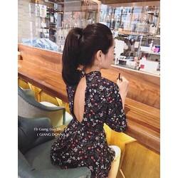 Jumpsuit short hoa đan eo hở lưng _MỎ CHU SHOP