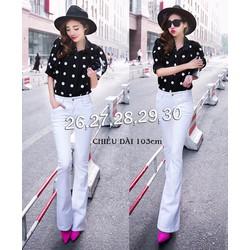 Quần jean trắng lưng cao 1 nút ống loe - QD248
