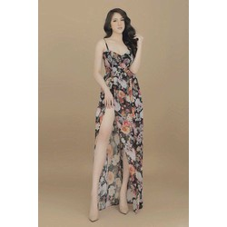 Đầm maxi hoa hở lưng _MỎ CHU SHOP