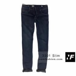 Quần jeans nam ống côn hơi xước