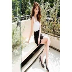 Set áo hai dây trắng váy đen 3326