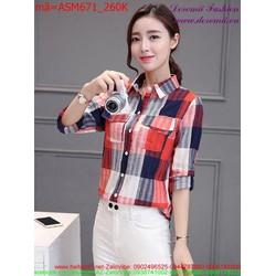 Áo sơ mi nữ tay dài sọc phối màu 3D thời trang sành điệu ASM671