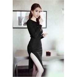Đầm body đen hở lưng sexy 1718