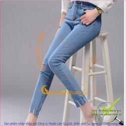 Quần jean nữ đẹp co giãn lưng cao kiểu skinny không lai GLQ017