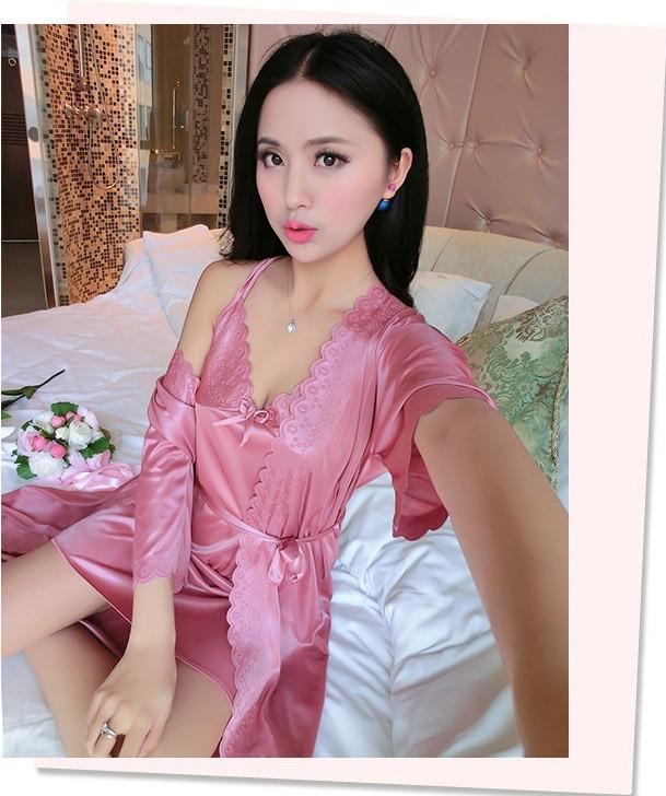 Set váy ngủ và áo ngủ hai dây thun lụa VN90172 4