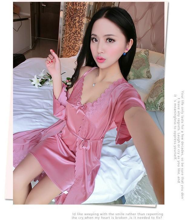 Set váy ngủ và áo ngủ hai dây thun lụa VN90172 2