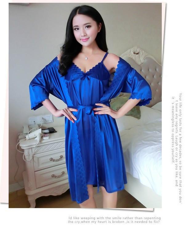 Set váy ngủ và áo ngủ hai dây thun lụa VN90172 6