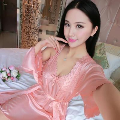 Set váy ngủ và áo ngủ hai dây thun lụa VN90172 9