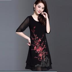 Đầm suông họa tiết cực đẹp DS892