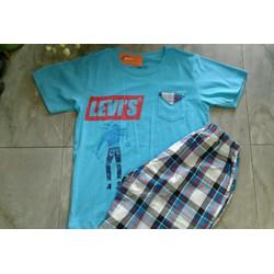 Bộ bé trai Levis quần kẻ áo xanh thô cỡ đại