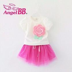 Bộ váy bé gái bông hồng xinh xắn size đại NX943