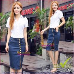 Chân váy jeans kiểu bút chì nhiều nút GLV021