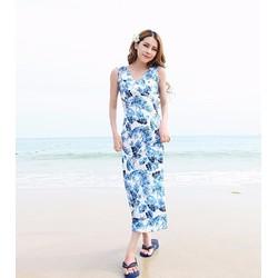 HÀNG THIẾT KẾ LOẠI I-Đầm maxi thun lụa bãi biển họa tiết hoa lá