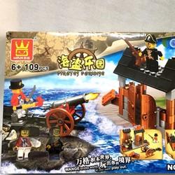 ráp hình khối, xếp hình khối pháo đài cướp biển 109 miếng đẹp như Lego