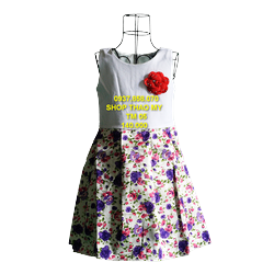 Đầm sát nách -chân váy  hinh hoa