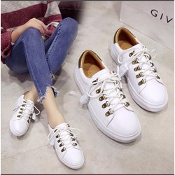 Giày bata nữ cột dây màu trắng