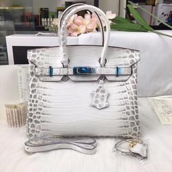 Túi xách thời trang hàng hiệu da cá sấu màu trắng super sale
