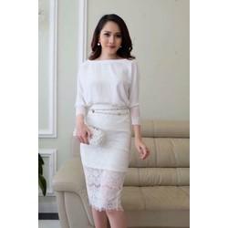 Set áo trắng + váy ren siêu cute
