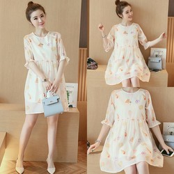 Đầm Baby doll họa tiết hoa thanh lịch - hàng nhập Quảng Châu