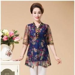 áo voan in hoa cho nữ trung niên