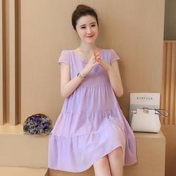 Đầm bầu suông chất chiffon kiểu Hàn quốc 2017 - #661