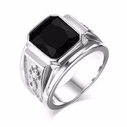 Nhẫn inox nam rồng đá đen - N537