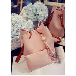 Set túi xách kèm ví - màu hồng phấn