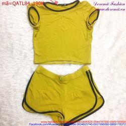 Bộ đồ nữ tay con cổ tròn quần short phong cách trẻ trung QATL84