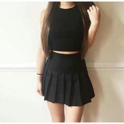 Chân váy tennis skirt xếp ly màu đen VHS002