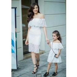 Đầm đôi ren trễ vai cho mẹ và bé xinh HGS 785