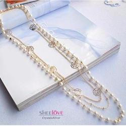 dây chuyền chuỗi hoa hồng ngọc trai thời trang sang trọng MYL-LF336