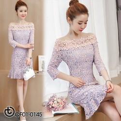 Đầm ren hoa 3D cao cấp - hàng nhập Quảng Châu