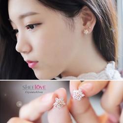 bông tai hoa tuyết đính đá lấp lánh sang trọng HKE-100030