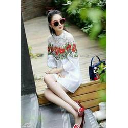 Đầm suông trắng in hoa 3D cực kool